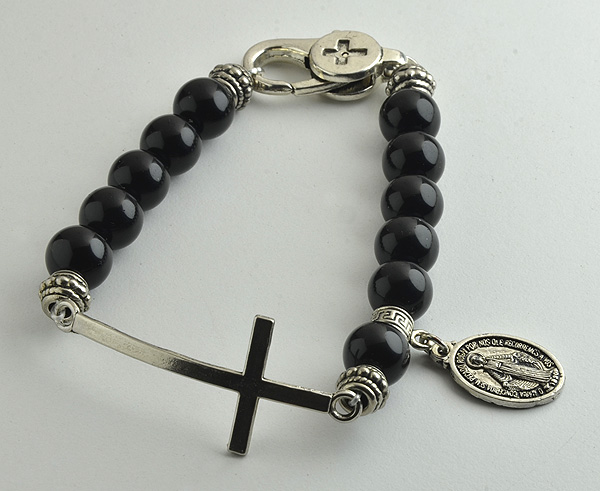 10mm Black Agate Men S Rosary Bracelet With Large Narrow Silver Plated Cross Lobster Clasp And Miraculous Medal In Standard